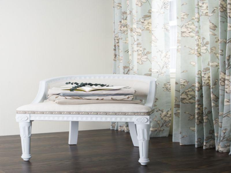 chair, curtain and wood floor