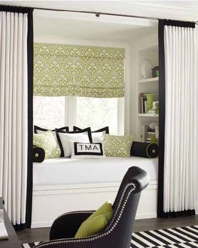 bedroom with curtains