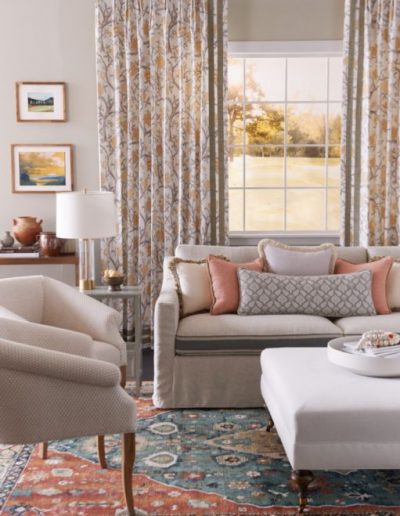 living room furniture and curtains