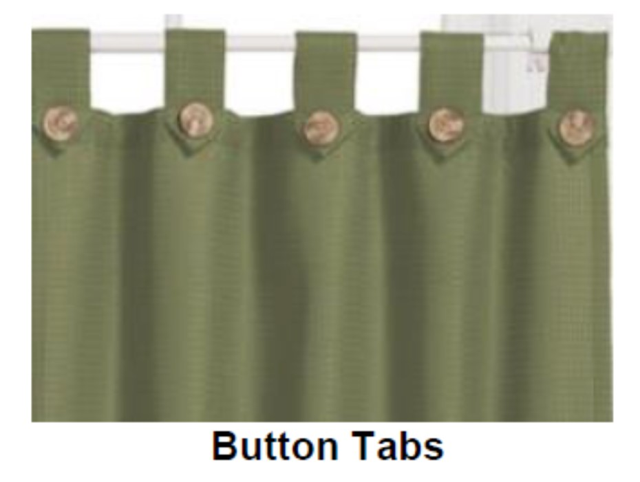 curtain on a rod with button tabs