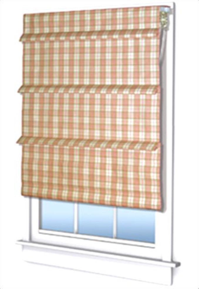 plaid roman shade over window