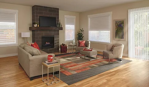 family room with blinds on windows