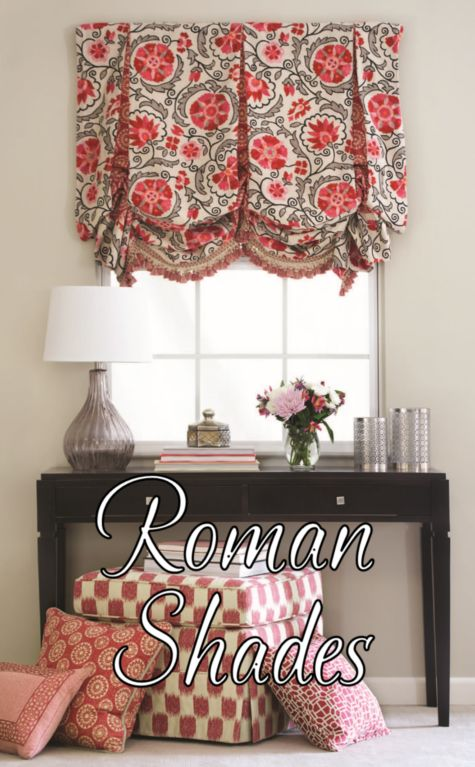 roman shade over window and table